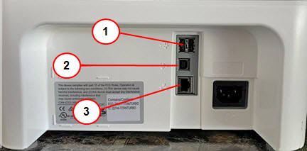 Connections on the back of the device