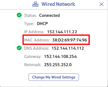 Wired connection MAC address