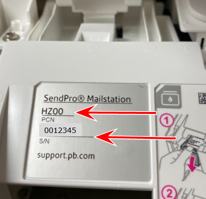 sendpro mailstation pcn and serial number image
