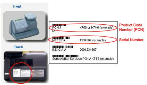 serial number and pcn on the mailstation series