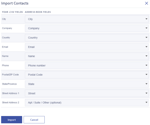 SendPro Online Import COntacts matching screen