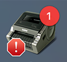 Brother QL-1050 printer icon showing a problem