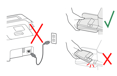 Do not connect power or lift the device incorrectly