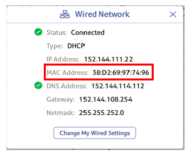 Wired network MAC address