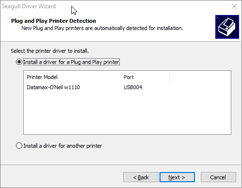 Datamax W1110 Install a driver for Plug and Play printer