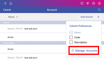 Select Manage Accounts