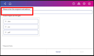 Manage accounts, enter recipient email address