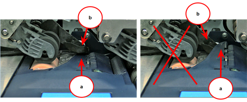 Correct and incorrect position of Stripper on moistener pad assembly