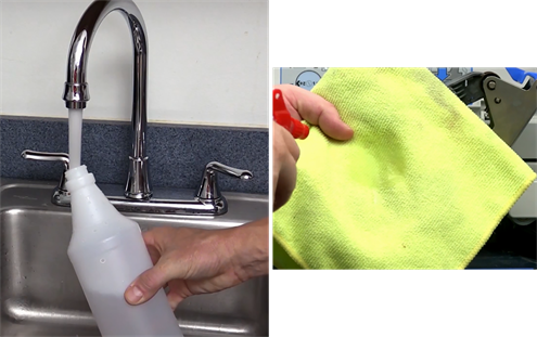 Filling a spray water bottle to spray on a lint free cloth