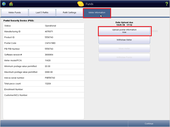 Image showing the Meter Information tab highlighted within the Funds screen