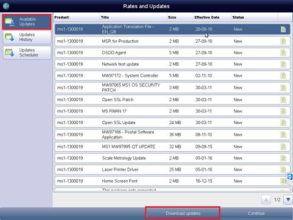 Image showing Rates and updates screen with available updates and download updates highlighted
