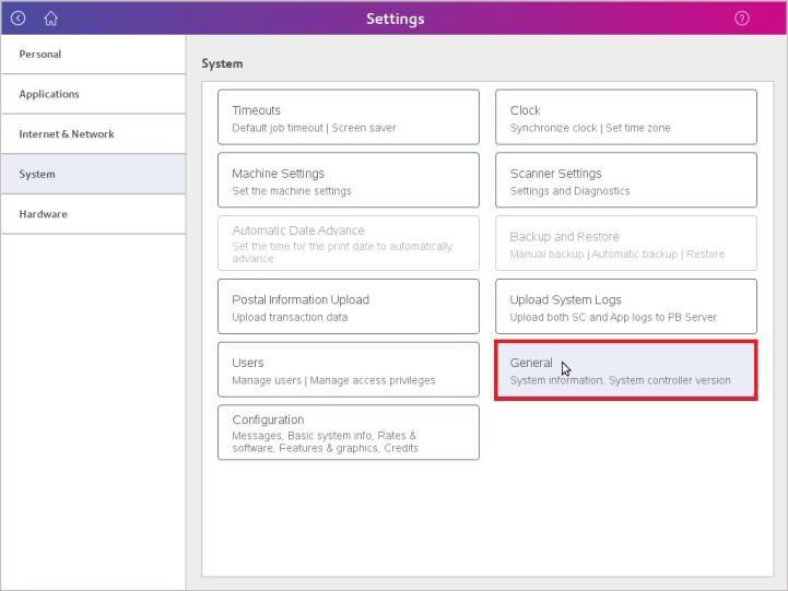 Image showing General button within Settings menu highlighted