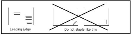 Staple location for manual feed