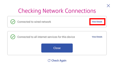 View details of network checking