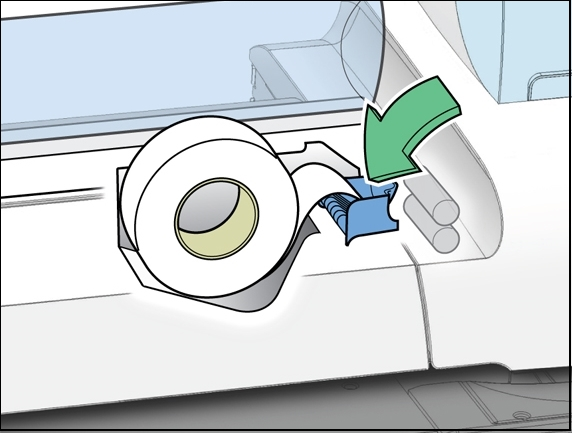 Connect+ / SendPro P-Series franking machine with tape roll being inserted