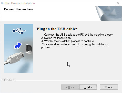 Brother QL-800 printer installation connect USB cable