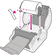 Insert the roll into the Brother QL1050 printer