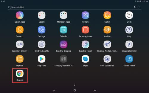 SendPro Tablet update - tap Chrome