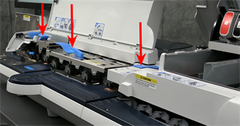 Connect+ and SendPro P-Series franking machine showing location of jam release levers in the down position