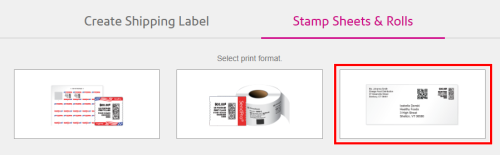 SendPro Online STamp Sheets & Rolls tab with Envelopes highlighted