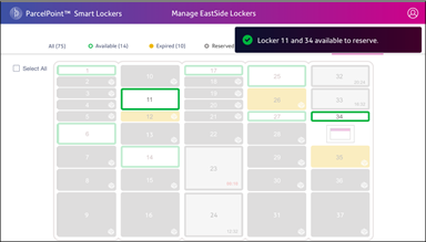 ParcelPoint Lockers Now Available screen