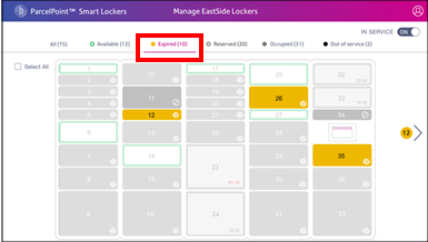 ParcelPoint View Expired Lockers screen