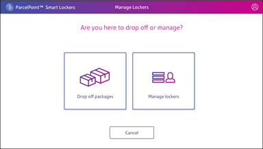 ParcelPoint Drop off or Manage screen