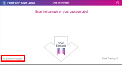 ParcelPoint No Barcode Available screen