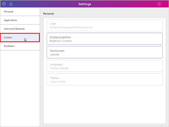 Image showing System button within Settings menu highlighted