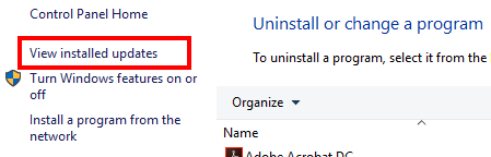 """Windows Programs and Features window with """"View installed updates"""" highlighted"""