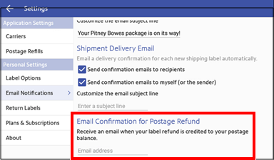 Manage shipping label email notification