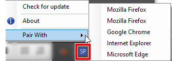 SendPro scale app icon Pair With menu on Windows