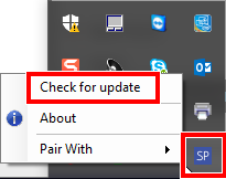 """Windows system tray SP icon with """"Check for updates"""" highlighted"""