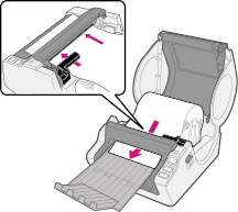 Feed the roll into the Brother QL1050 printer