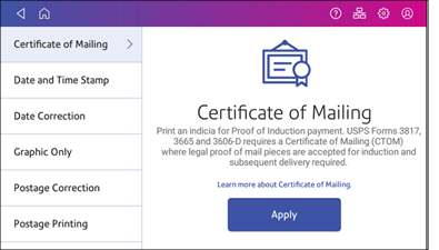 Certification of Mailing screen