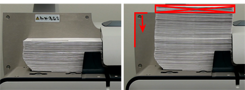 Correct and incorrect amount of envelopes stacked on the feed deck