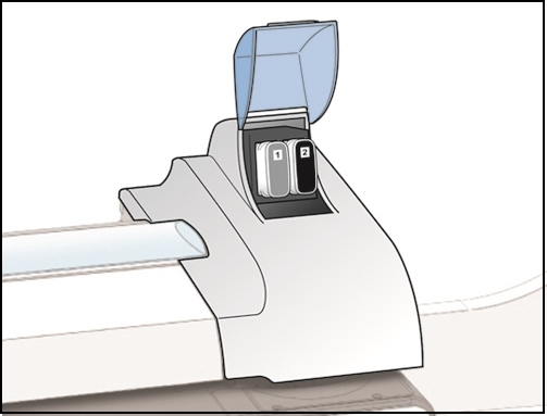 Connect+ / SendPro P-Series machine with ink cover open