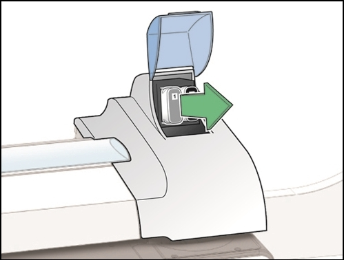 Connect+ / SendPro P-Series franking machine with ink cartridge being removed