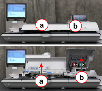 Connect+ and SendPro P-Series franking machine showing location of machine covers