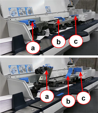 Connect+ and SendPro P-Series franking machine showing location of jam release levers
