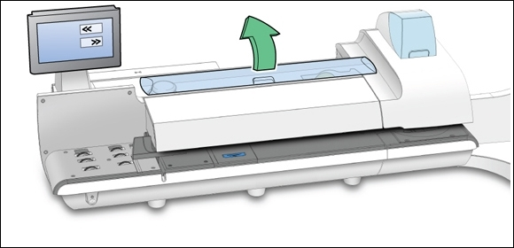 Connect+ / SendPro P-Series franking machine with top supplies cover open