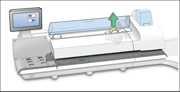 Connect+ / SendPro P-Series franking machine with tape roll being removed