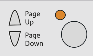 Image showing the LED button lit with an Amber light
