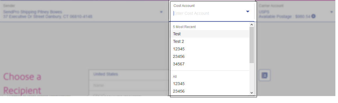 SendPro Online Cost Account menu expanded
