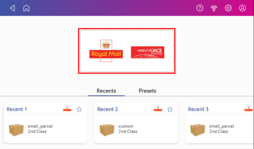 Parcel Shipping home screen