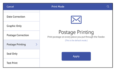 postage print mode screen, more options