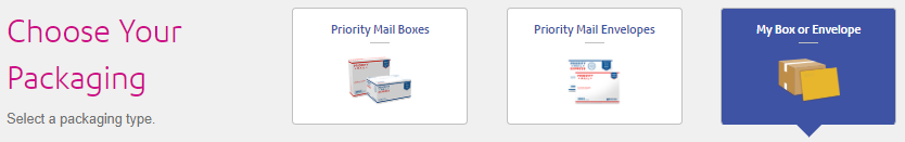 SendPro Online Choose Your Packaging - My Box or Envelope